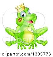 Cartoon Happy Green Frog Prince With A Liptstick Kiss On His Cheek