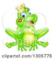 Clipart Of A Cartoon Happy Green Frog Prince With A Liptstick Kiss On His Cheek Royalty Free Vector Illustration