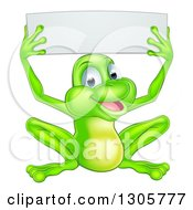 Clipart Of A Cartoon Happy Green Frog Holding Up A Blank Sign Royalty Free Vector Illustration