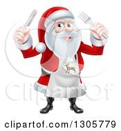 Clipart Of A Happy Christmas Santa Claus Wearing An Apron And Holding Silverware Royalty Free Vector Illustration by AtStockIllustration
