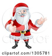 Clipart Of A Happy Christmas Santa Claus Giving A Thumb Up And Presenting To The Right Royalty Free Vector Illustration