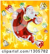 Clipart Of A Super Hero Santa Claus Running In A Christmas Suit Over A Star Burst With Gifts Royalty Free Vector Illustration
