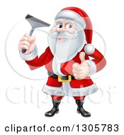 Clipart Of A Christmas Santa Claus Giving A Thumb Up And Holding A Window Cleaning Squeegee Royalty Free Vector Illustration