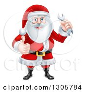 Clipart Of A Happy Christmas Santa Claus Giving A Thumb Up And Holding A Wrench Royalty Free Vector Illustration