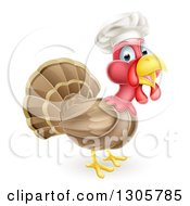 Clipart Of A Turkey Bird Chef Facing Right Royalty Free Vector Illustration