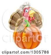 Clipart Of A Turkey Bird Chef Holding A Thumb Up Over A Thanksgiving Pumpkin Royalty Free Vector Illustration