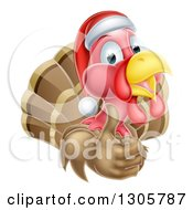 Clipart Of A Christmas Turkey Bird Wearing A Santa Hat And Giving A Thumb Up Royalty Free Vector Illustration