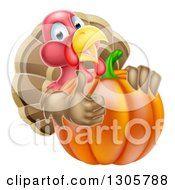 Clipart Of A Turkey Bird Giving A Thumb Up And Looking Around A Thanksgiving Pumpkin Royalty Free Vector Illustration