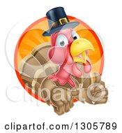 Clipart Of A Pleased Thanksgiving Turkey Bird Wearing A Pilgrim Hat And Giving A Thumb Up And Emerging From A Circle Of Rays Royalty Free Vector Illustration