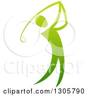 Clipart Of A Gradient Green Golfer Man Swinging A Club Royalty Free Vector Illustration by AtStockIllustration