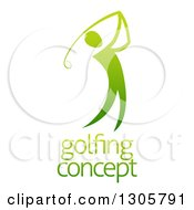 Clipart Of A Gradient Green Golfer Man Swinging A Club Over Sample Text Royalty Free Vector Illustration by AtStockIllustration