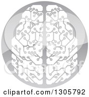 Clipart Of A Circuit Board Artificial Intelligence Computer Chip Brain In A Shiny Gray Circle Royalty Free Vector Illustration