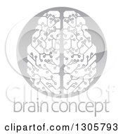 Circuit Board Artificial Intelligence Computer Chip Brain In A Shiny Gray Circle Over Sample Text