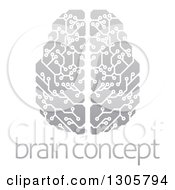 Clipart Of A Gradient Gray Circuit Board Artificial Intelligence Computer Chip Brain Over Sample Text Royalty Free Vector Illustration