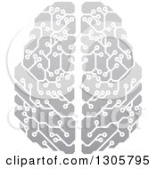 Clipart Of A Gradient Gray Circuit Board Artificial Intelligence Computer Chip Brain Royalty Free Vector Illustration