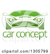 Gradient Green Sports Car Over Sample Text