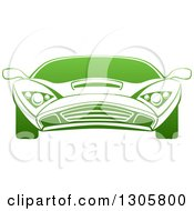 Clipart Of A Gradient Green Sports Car Royalty Free Vector Illustration