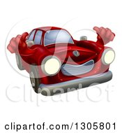 Clipart Of A Happy Vintage Red Car Giving Two Thumbs Up Royalty Free Vector Illustration