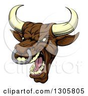 Clipart Of A Snarling Vicious Mad Brown Bull Mascot Head Royalty Free Vector Illustration