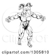 Clipart Of A Black And White Muscular Vicious Ram Man With Claws Bared Royalty Free Vector Illustration