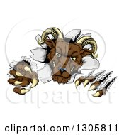 Clipart Of A Brown Vicious Ram Monster Clawing Through A Wall Royalty Free Vector Illustration