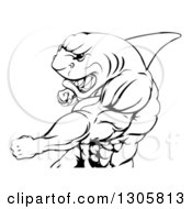 Clipart Of A Black And White Mad Muscular Shark Man Mascot Punching Royalty Free Vector Illustration