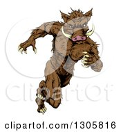 Clipart Of A Sprinting Muscular Boar Man Running Upright Royalty Free Vector Illustration
