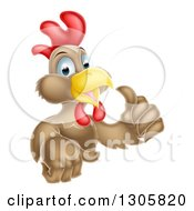 Clipart Of A Happy Brown Chicken Or Rooster Holding Up A Thumb Royalty Free Vector Illustration