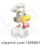 Clipart Of A Happy Brown And White Chicken Chef Facing Right And Giving A Thumb Up Royalty Free Vector Illustration