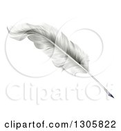 Clipart Of A White Plume Feather Quill Pen Royalty Free Vector Illustration