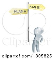 Clipart Of A 3d Silver Man Looking Up At Yellow Plan A And Plan B Crossroad Signs Royalty Free Vector Illustration