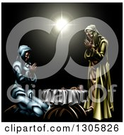 Clipart Of A 3d Mary And Joseph Praying Over Baby Jesus Under The Star Of Bethlehem Royalty Free Vector Illustration by AtStockIllustration