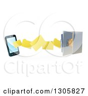 Clipart Of A 3d Smart Cell Phone Doing A Secure Data Transfer Backup To A Safe Vault Royalty Free Vector Illustration