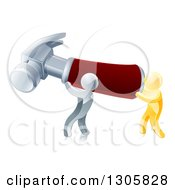 Clipart Of 3d Gold And Silver Men Carrying A Giant Red Handled Hammer Royalty Free Vector Illustration