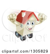 Clipart Of A Happy House Character Cheering And Moving While Rolling On Wheels Royalty Free Vector Illustration