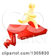 Clipart Of A 3d Gold Man Running On Top Of A Red Growth Arrow Royalty Free Vector Illustration