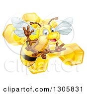 Clipart Of A Cute Friendly Bee Over Honeycombs Royalty Free Vector Illustration by AtStockIllustration