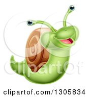 Clipart Of A Cartoon Cheerful Green Snail Royalty Free Vector Illustration by AtStockIllustration
