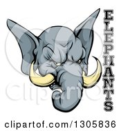 Clipart Of A Vicious Gray Elephant Mascot Head And Text Royalty Free Vector Illustration