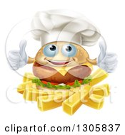 Clipart Of A Happy Cheeseburger Chef Holding Two Thumbs Up Over French Fries Royalty Free Vector Illustration by AtStockIllustration