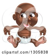 Clipart Of A Happy Black Baby Boy Sitting In A Diaper Royalty Free Vector Illustration