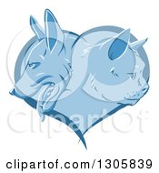 Clipart Of A Blue Heart With Cat And Dog Faces In Profile Royalty Free Vector Illustration by AtStockIllustration