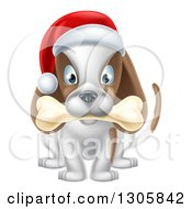 Clipart Of A Christmas Dog Sitting With A Bone In His Mouth And A Santa Hat On His Head Royalty Free Vector Illustration