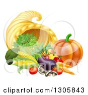 Clipart Of A Harvest Of Fall Vegetables And A Thanksgiving Cornucopia Royalty Free Vector Illustration by AtStockIllustration