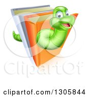 Happy Cartoon Green Worm Going Through Books