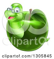 Clipart Of A Happy Bespectacled Worm Emerging From A Green Apple Royalty Free Vector Illustration