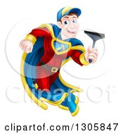 Clipart Of A Super Hero Brunette White Male Window Cleaner Running With A Squeegee Royalty Free Vector Illustration