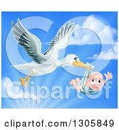 Clipart Of A Stork Bird Flying A Baby Boy In A Bundle Against A Blue Sky With Clouds And Sunshine Royalty Free Vector Illustration by AtStockIllustration