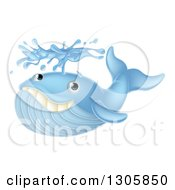 Cartoon Happy Blue Whale Spouting Water