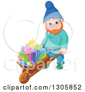 Clipart Of A Happy Mining Gnome Pushing Colorful Crystals On A Wheelbarrow Royalty Free Vector Illustration